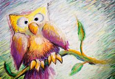 Art, Surprised Owl Perched on a Branch, 10x15 Art Print from Oil Pastel Drawing in Yellow and Purple. $30.00, via Etsy.