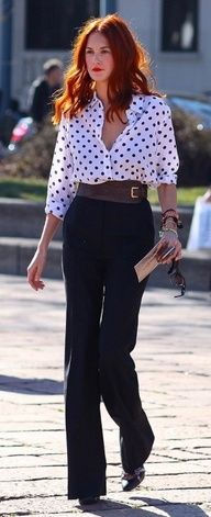 Maybe button up! This look is perfect for a relaxed interview. Wide tan leather belt with trousers and blouse.