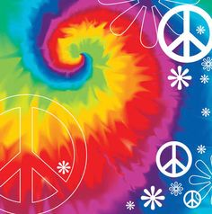 Tie Dye ✌Peace Sign #HippieStuff Collage Beverage Napkin 16ct | Wally's Party Factory #60s #napkins #tiedye