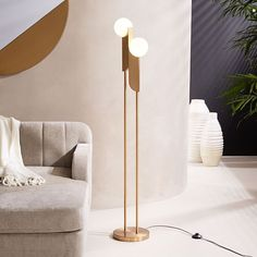 Bower Floor Lamp, Antique Brass, Frosted Glass at West Elm - Floor Lamps - Home Lighting - Home Furniture Brass Floor Lamp, Home Interior Design, Decor, Floor Lamp, Modern Floor Lamps, Bedroom Lamps, Lamps Living Room, Cool Light Fixtures, Floor Lights