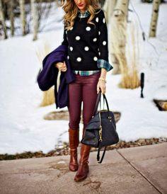 Polka dots and oxblood combo fall fashion Mine:  * Loft beige checked shirt * J.Cew sweater * Grey skinny pants * Beige knee-high boots