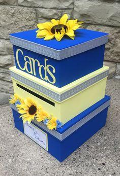 2020 Graduation Ideas Discover Custom Wedding Card Box 3 Tier Card Holder Square Blue and Yellow Sunflowers Wedding Decor Wedding Sand, Wedding Tips, Fall Wedding, Wedding Planning, Wedding Yellow, Dream Wedding, Wedding Poses, Wedding Themes, Trendy Wedding