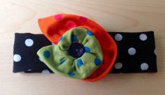 Elastic Colorful headband with polka dots flower any by LittleYeya