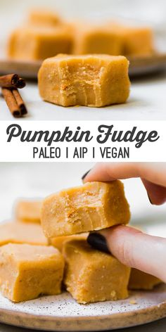Fudge (AIP & Vegan) This paleo pumpkin fudge is an easy and delicious treat! It's paleo, AIP, and vegan-friendly.This paleo pumpkin fudge is an easy and delicious treat! It's paleo, AIP, and vegan-friendly. Paleo Fudge, Paleo Cheesecake, Gourmet Recipes, Vegan Recipes, Dessert Recipes, Easy Paleo Desserts, Paleo Pumpkin Recipes, Healthier Desserts, Pumpkin Fudge