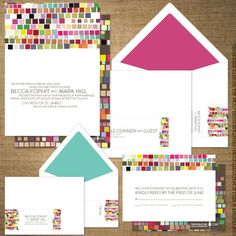 Colour block invitations... we LOVE the attention to detail...