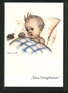 alte Künstler-AK Hummel: Kleinkind im Bett und eine Hummel, Das Ungeheuer in Sammeln & Seltenes, Ansichtskarten, Motive | eBay