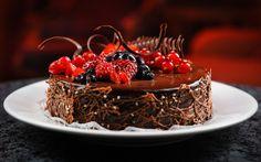 チョコレートケーキ、ベリー、ラズベリー、ブルーベリー、スグリ、デザート 壁紙 - 2560x1600