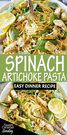 Easy creamy Spinach and Artichoke pasta is perfect any night of the week. For a healthy twist on traditional spaghetti recipes you will love this simple recipe! #pastarecipes @sweetcaramelsunday