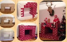 Cardboard Fireplace DIY for Christmas