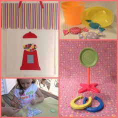 Candy party games, including a candy bean bag toss!