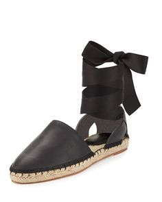 Vivien+Leather+Flat+Espadrille,+Black+by+Rebecca+Minkoff+at+Neiman+Marcus.