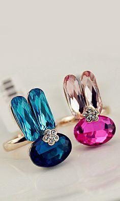 Rhinestone rabbit ring 13513,colorful ring