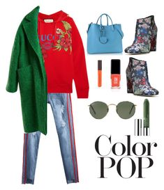 """""""winter time"""" by aniadratwicka on Polyvore featuring Gucci, Raey, Sam Edelman, Coccinelle, Clinique, Ray-Ban, JINsoon and statementcoats"""