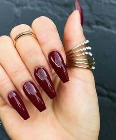 Burgundy Acrylic Nails, Fall Acrylic Nails, Purple Nails, Fall Nails, Deep Red Nails, Maroon Nails Burgundy, Summer Nails, Periwinkle Nails, Burgundy Nail Designs