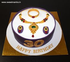 Indian Jewellery, Ornaments, Necklace theme small 3D designer fondant cake for wife's 30th birthday at Pune