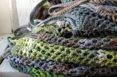 crocheted hand-dyed market totes