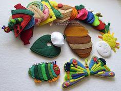 Materiali poveri per giochi ricchi: Tutti i bruchi diventano farlalle Fun Crafts For Kids, Craft Activities For Kids, Diy For Kids, Gifts For Kids, Felt Crafts Diy, Felt Diy, Baby Crafts, Hungry Caterpillar Activities, Very Hungry Caterpillar