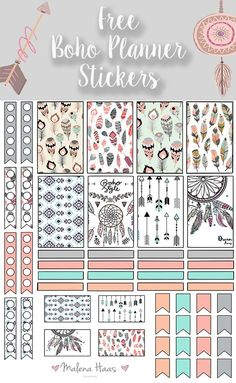 Malena Haas: ❤️FREEBIE Friday❤️ Boho Chic Printable Planner Stickers