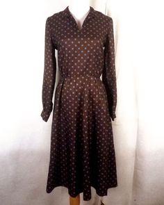 vtg 60s 70s ReTrO brown/blue Polka Dot Pattern Shirtdress Dress A-Line sz 36