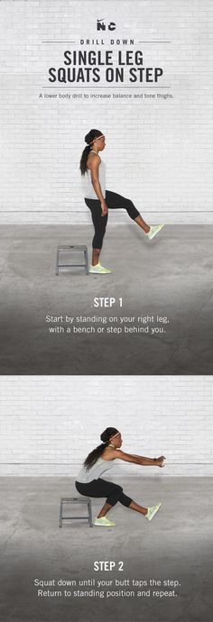Improve balance and tone thighs with Single Leg Step Squats in Brianna Rollins' Race Ready workout on Nike+ Training Club.