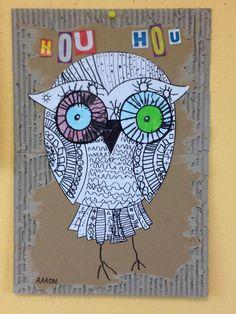 Hibou hou hou Primary School Art, Elementary Art, Art School, Bricolage Halloween, Owl Eyes, Owl Crafts, T Art, Painted Paper, Recycled Art