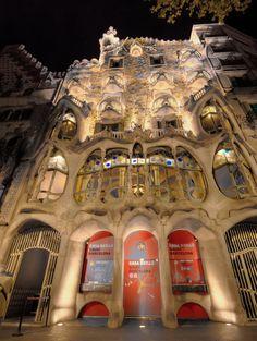 Gaudi's architectural masterpiece at night, Barcelona Gaudi, Times Square, Barcelona, Lights, Architecture, Travel, Art, Arquitetura, Art Background