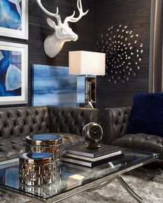 Style Tip: set the mood for a lavish lounge with modern furniture, abstract art, and polished accents.