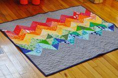 Rainbow chevron baby quilt by goddessinprogress on Flickr.