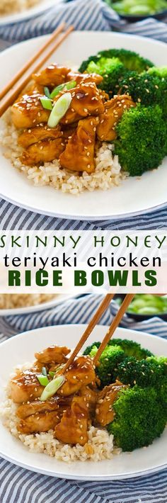 These delicious Skinny Honey Teriyaki Chicken Rice Bowls are a super quick dinner! Tender chicken is sauteed until juicy and simmered in a homemade, healthy teriyaki sauce. Served with fresh veggies a (Teriyaki Chicken Meals) Teriyaki Chicken Rice Bowl, Chicken Rice Bowls, Broccoli Chicken, Chicken With Rice, Clean Eating Recipes, Cooking Recipes, Healthy Quick Meals Clean Eating, Quick Healthy Food, Eat Healthy