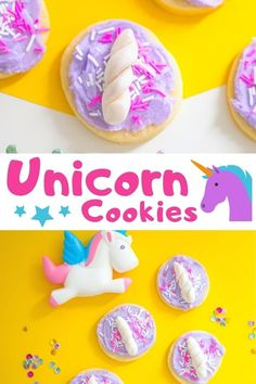 cookies -- complete with purple frosting, a unicorn horn, and sprinkles . -Unicorn cookies -- complete with purple frosting, a unicorn horn, and sprinkles . Popcorn Recipes, Best Cookie Recipes, Brownie Recipes, Chocolate Recipes, Amish Sugar Cookies, Sugar Cookie Dough, Ginger Cookies, Unicorn Birthday, Unicorn Party