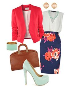 Just the skirt, blouse, and jacket