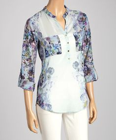 Another great find on #zulily! Blue & Purple Floral Notch Neck Top #zulilyfinds