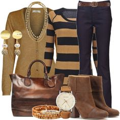 """Camel and navy"" by my-pretend-closet on Polyvore"