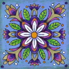 Mandala of the White Flower by Dorothy Siemens, oil and cold wax, 16˝ x 16˝.