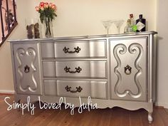 This glamerous buffet was transformed by Simply Loved by Julia using General Finished Snow White Milk Paint glazed with Argentine Pearl Pearl Effects and sealed with High Performance Top Coat in Satin.