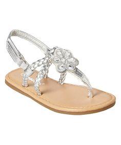 Loving this Silver Rhinestone Flower T-Strap Sandal on #zulily! #zulilyfinds