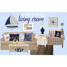 """Nautical Living Room"" by rejoicing on Polyvore"