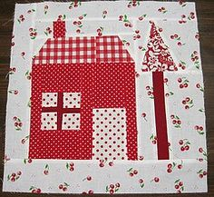 House and Tree Quilt Block House Quilt Patterns, House Quilt Block, House Quilts, Paper Piecing Patterns, Barn Quilts, Quilt Blocks, Red And White Quilts, Tree Quilt, Foundation Paper Piecing