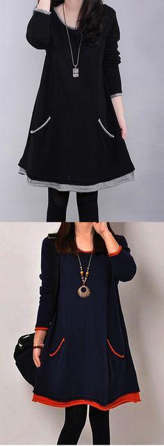 Women's Patchwork Black / Navy Blue Casual / Party / Plus Sizes Fleece Lining Loose Dress
