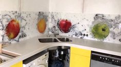 Кухонный фартук фрукты Стекло каленое 6мм диамант