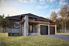 Landscaping Design Near Me Modern Bungalow Exterior, Modern Bungalow House, Dream House Exterior, Modern House Plans, Modern House Design, One Level House Plans, One Level Homes, Prairie Style Houses, Solar Panel Cost