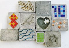 EASY; DIY; concrete paving: Mix concrete  water, poor into a plastic box, let concrete dry a little: more so for marbles as they mite sink... mosaic, shells, write a message, dates  :)