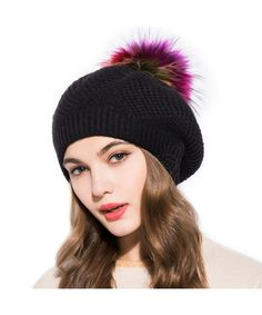3481101123c Wool Knit Beret Hats For Women- Spring Slouchy Beanie Cap With Pom Pom  Black CC188M3A6Z6