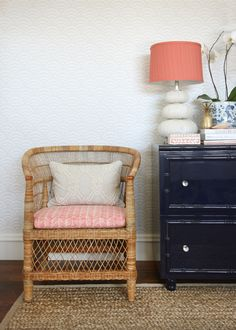 rattan chair, painted chest