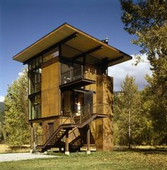 Unique steel cabin in the woods The Delta Shelter is designed by Olson Kundig Architects, an srchitectural design studio in Seattle. square foot cabin is located in Mazama in the Methow Valley o Cabin In The Woods, Into The Woods, Cabin Design, House Design, Terra Nova, Tower House, Kabine, Interior Architecture, Interior Design