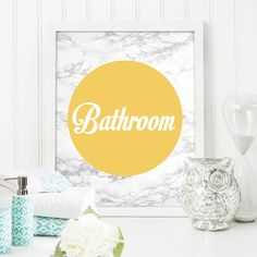 Bathroom Bathroom Print Marble Texture Yellow Home Decor