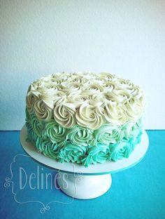 torta rosetones en agua marina Beautiful Birthday Cakes, Beautiful Cakes, Ombre Rosette Cake, Birthday Cakes For Teens, Birthday Ideas, Sweet 16 Cakes, Cheesecake, Cake Decorating Techniques, Buttercream Cake