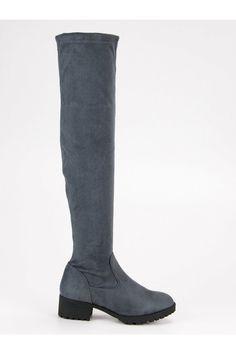 Semišvoé sivé čižmy kozačky nad kolena Queentina B2904G Ugg Boots, Knee Boots, Uggs, Modeling, Platform, Shoes, Fashion, Wedge, Zapatos