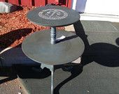 Distressed Dark Blue Two Tier Table with Anchor Detail