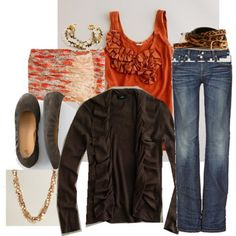 fall outfit ideas, brown and orange outfit, fall fashions, ruffl, color combos, burnt orange, fall looks, fall outfits, fall fall